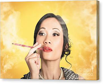 Beautiful Reto Lady Smoking On Yellow Background Canvas Print by Jorgo Photography - Wall Art Gallery