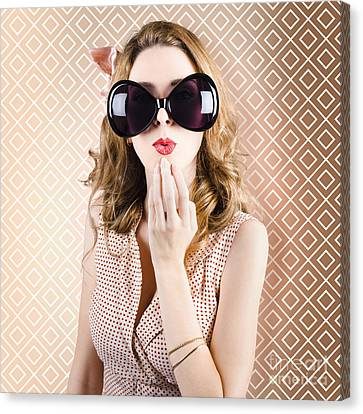Beautiful Surprised Girl Wearing Big Sunglasses Canvas Print by Jorgo Photography - Wall Art Gallery