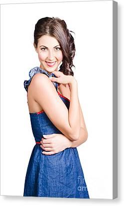 Beautiful Woman Wearing Denim Dress Retro Fashion Canvas Print by Jorgo Photography - Wall Art Gallery