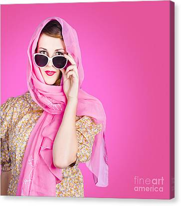 Beautiful Woman Wearing Pink Headscarf Fashion Canvas Print by Jorgo Photography - Wall Art Gallery