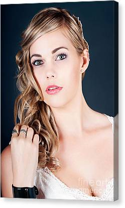 Beautiful Young Bride With Perfect Hair And Makeup Canvas Print by Jorgo Photography - Wall Art Gallery