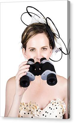 Beautiful Young Woman With Binoculars Canvas Print by Jorgo Photography - Wall Art Gallery