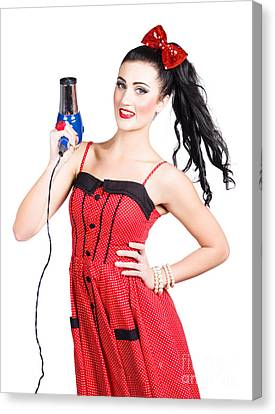 Beauty Style Portrait Of A Elegant Hairdryer Woman Canvas Print by Jorgo Photography - Wall Art Gallery