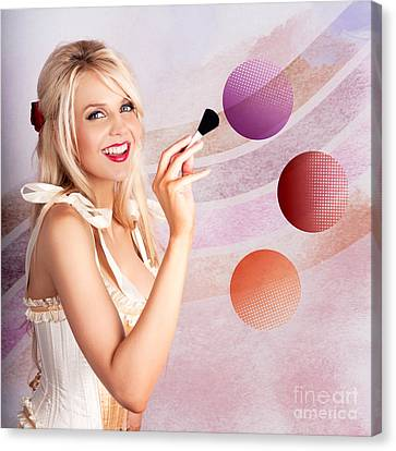 Beauty Woman Using Rouge Blush Color Pallet Canvas Print by Jorgo Photography - Wall Art Gallery