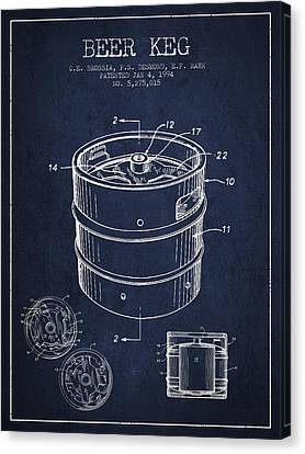 Beer Keg Patent Drawing - Green Canvas Print by Aged Pixel