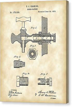 Beer Tap Patent 1876 - Vintage Canvas Print by Stephen Younts
