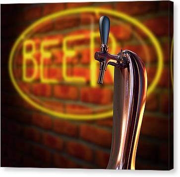 Beer Tap Single With Neon Sign Canvas Print by Allan Swart