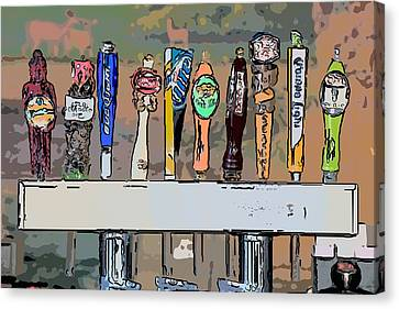 Beer Taps 2 Duval Street Key West Pop Art Style Canvas Print by Ian Monk