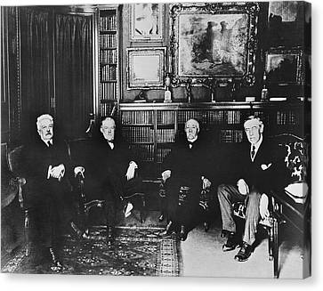 Big Four At Versailles Canvas Print by Underwood Archives