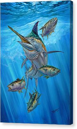 Black Marlin And Albacore Canvas Print by Terry Fox