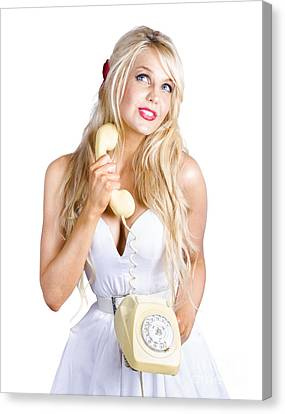 Blond Lady On Old-fashion Telephone Communication Canvas Print by Jorgo Photography - Wall Art Gallery