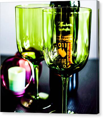Bottle Glass And Grapes In Delightful Mix Canvas Print by Toppart Sweden
