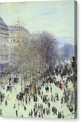 Boulevard Des Capucines Canvas Print by Claude Monet