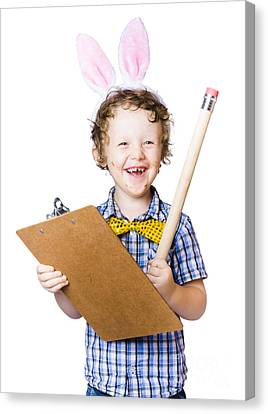 Boy Writing Easter List Canvas Print by Jorgo Photography - Wall Art Gallery