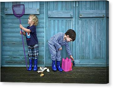 Boys Playing With Fishing Net And Bucket Canvas Print by Ruth Jenkinson