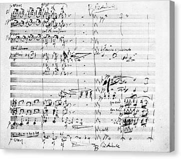 Brahms Manuscript, 1876 Canvas Print by Granger