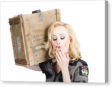 Brave Army Girl Holding Explosive Small Arms Canvas Print by Jorgo Photography - Wall Art Gallery