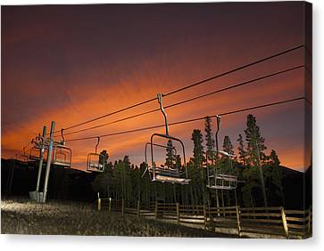 Breckenridge Chairlift Sunset Canvas Print by Michael J Bauer