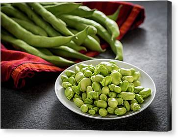 Broad Beans In A Bowl Canvas Print by Aberration Films Ltd