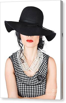 Brunette Woman In Chic Pearl Jewelry. Fashion Hats Canvas Print by Jorgo Photography - Wall Art Gallery