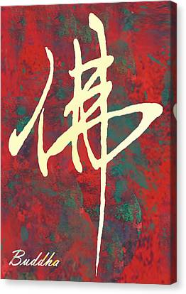 Buddha - Chinese Letter Pop Stylised Etching Art Poster  Canvas Print by Kim Wang