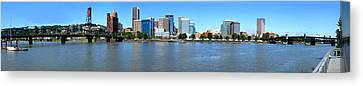 Buildings At The Waterfront, Portland Canvas Print by Panoramic Images