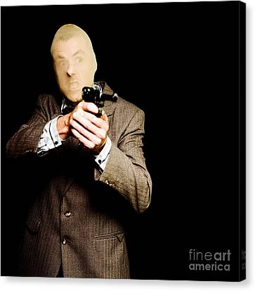 Business Man Or Corporate Crook Holding Gun Canvas Print by Jorgo Photography - Wall Art Gallery