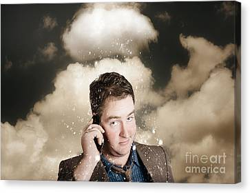 Businessman Having Bad Day. Communication Trouble Canvas Print by Jorgo Photography - Wall Art Gallery