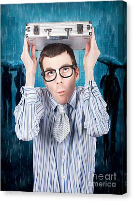 Businessman In Financial Storm. Insurance Cover Canvas Print by Jorgo Photography - Wall Art Gallery