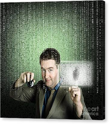Businessman Using Digital Security Data Protection Canvas Print by Jorgo Photography - Wall Art Gallery