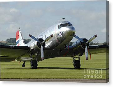 C-47 Dakota In Norwegian Colours Canvas Print by Riccardo Niccoli