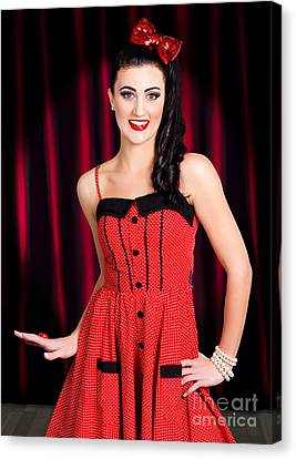 Cabaret Show Girl Performer In The Stage Spotlight Canvas Print by Jorgo Photography - Wall Art Gallery