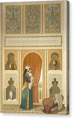 Cairo Interior Of The Domestic House Canvas Print by Emile Prisse d'Avennes