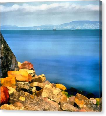 Calm In Balaton Lake Canvas Print by Odon Czintos