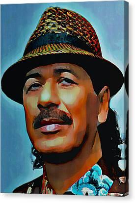 Carlos Santana Canvas Print by  Fli Art