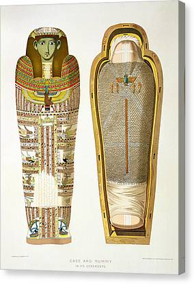 Case And Mummy In Its Cerements Canvas Print by American School