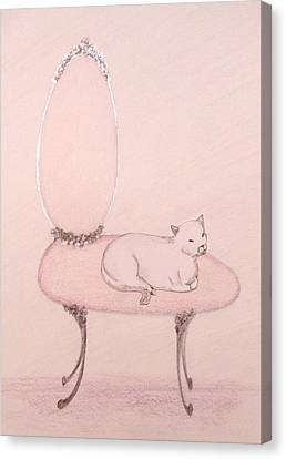 Cat On A Vanity Chair Canvas Print by Christine Corretti