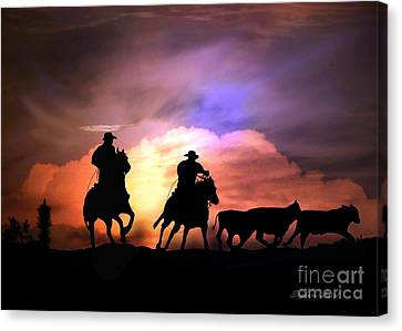 Cattle Drive Canvas Print by Stephanie Laird