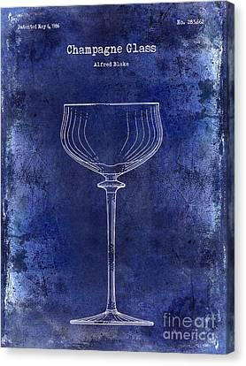 Champagne Glass Patent Drawing Blue Canvas Print by Jon Neidert