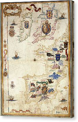 Chart Of Western Europe Canvas Print by British Library