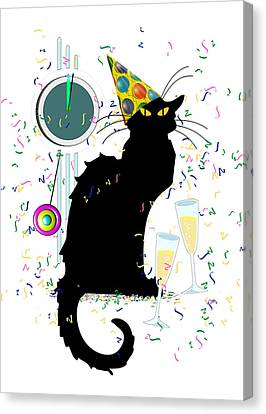 Chat Noir New Years Party Countdown Canvas Print by Gravityx9  Designs