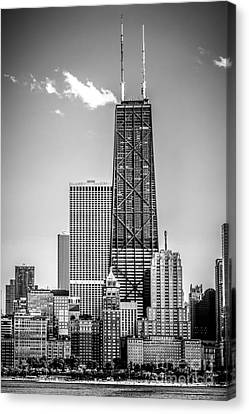 Chicago Hancock Building Black And White Picture Canvas Print by Paul Velgos