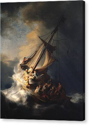 Christ In The Storm On The Sea Of Galilee Canvas Print by Celestial Images