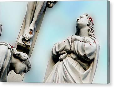 Christ On The Cross With Mourners Saint Joseph Cemetery Evansville Indiana 2008 Canvas Print by John Hanou