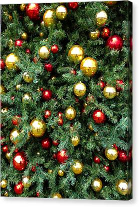 Christmas Baubles Canvas Print by Les Cunliffe