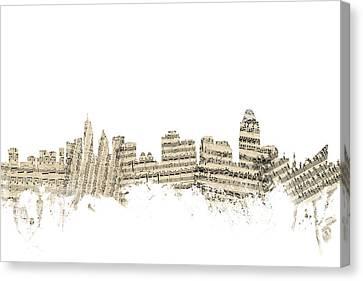 Cincinnati Ohio Skyline Sheet Music Cityscape Canvas Print by Michael Tompsett