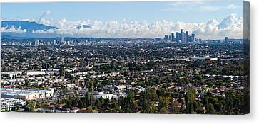 City With Mountain Range Canvas Print by Panoramic Images