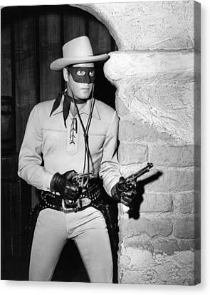 Clayton Moore In The Lone Ranger  Canvas Print by Silver Screen