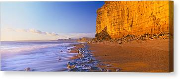 Cliff On The Beach, Burton Bradstock Canvas Print by Panoramic Images