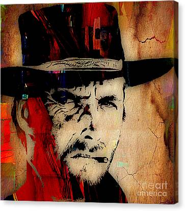 Clint Eastwood Collection Canvas Print by Marvin Blaine
